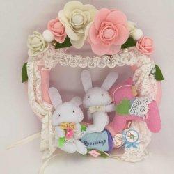 優惠價MOP380 躱躲兔不織布掛環   獨一無二的手作,一對躱躱兔祝福一對新人,可用作新婚、結婚週年、祝福等禮物
